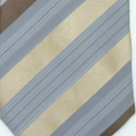 SKU#SW431D  Silk Grey Beige Brown Woven Necktie $39