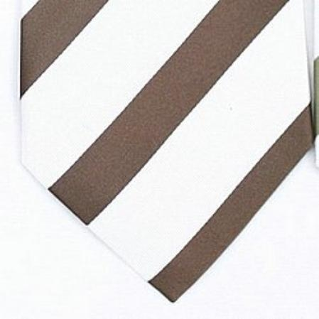 SKU#SW447D  Silk White/Brown Woven Necktie $39