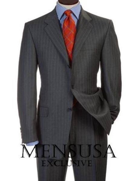 SKU# 3BDV199 Mens Charcoal Gray Pinsripe 3 Buttons Double Vent Mens Suits Dress premier quality italian fabric $199
