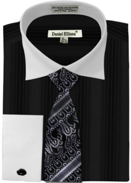 Buy MK781 Mens Daniel Ellissa Basic Two Tone French Cuff Dress Shirt Set Black White Collar Two Toned Contrast