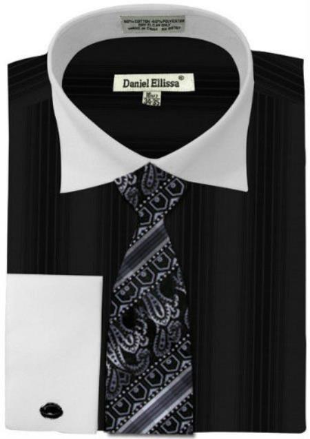 Buy MK788 Mens Daniel Ellissa Basic Two Tone French Cuff Dress Shirt Set Black White Collar Two Toned Contrast