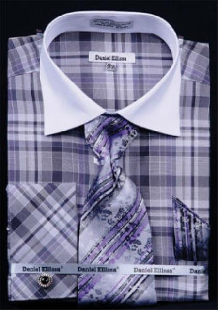 Buy MK807 Mens Daniel Ellissa Windowpane Plaid Pattern French Cuff Dress Shirt Black White Collar Two Toned Contrast