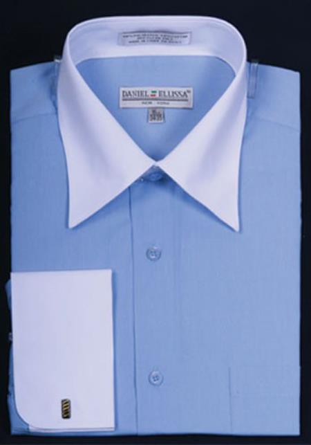 Daniel Ellissa Bright Two Tone Solid French Cuff Blue Shirt