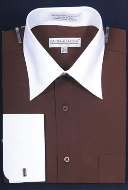 Buy MK657 Mens Daniel Ellissa Bright Two Tone Solid French Cuff Dark Brown Dress Shirt Big Tall Sizes White Collar Two Toned Contrast