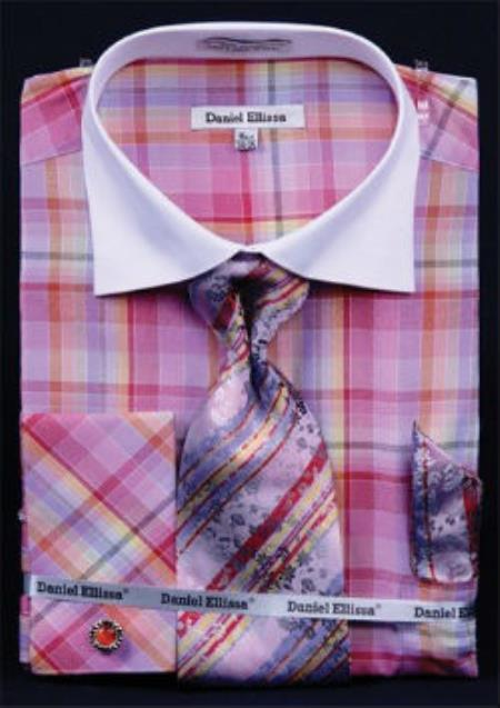 Daniel Ellissa Windowpane Plaid Pattern French Cuff Red White Collar Two Toned Contrast Men's Dress Shirt
