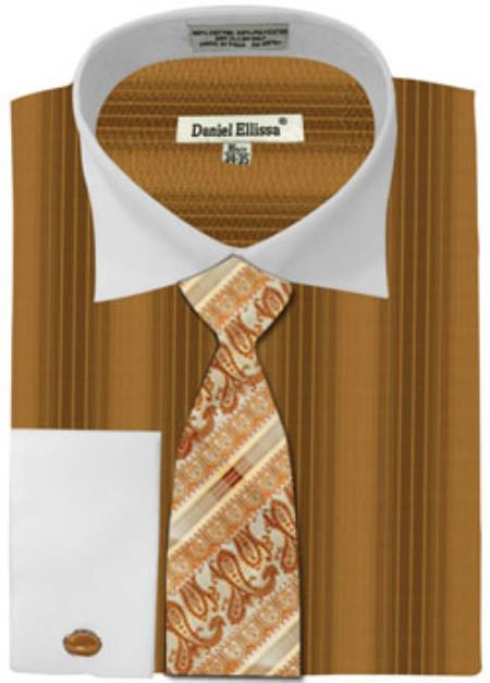 Buy MK778 Mens Daniel Ellissa Basic Two Tone French Cuff Dress Shirt Set Honey Gold White Collar Two Toned Contrast