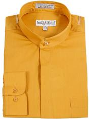 Buy RM1098 Mens Daniel Ellissa Banded Collar Gold (Mustard) Dress collarless Shirt