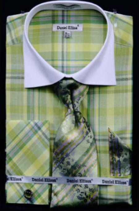 Buy MK806 Mens Daniel Ellissa Windowpane Plaid Pattern French Cuff Dress Shirt Green White Collar Two Toned Contrast