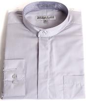 RM1099 Mens Daniel Ellissa Mandarin Style Banded Collar Grey fashion Dress collarless Shirt
