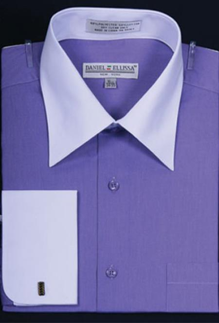 Buy MK658 Mens Daniel Ellissa Bright Two Tone Solid French Cuff Lavender Dress Shirt Big Tall Sizes White Collar Two Toned Contrast