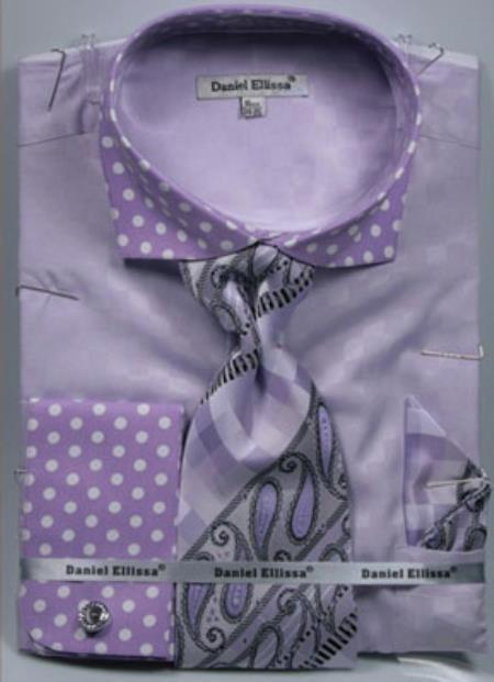 Buy MK753 Mens Daniel Ellissa Polka Dot French Cuff Dress Shirt Set Lavender