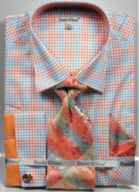 Peach Graph Checker French Cuff Set Dress Shirt