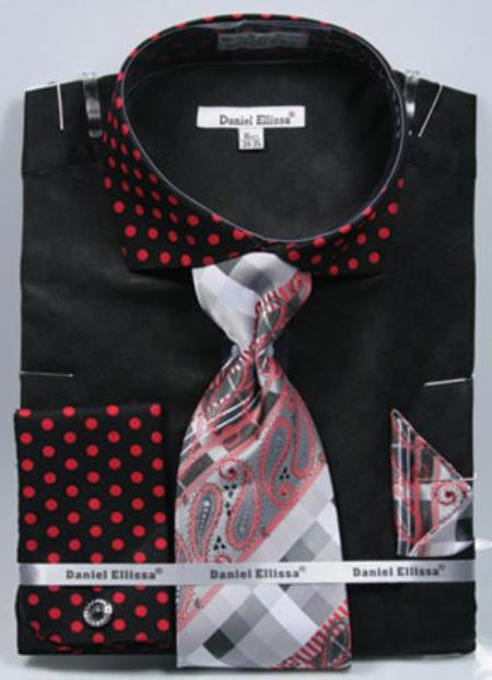 Daniel Ellissa Polka Dot French Cuff Set Black/Red Men's Dress Shirt
