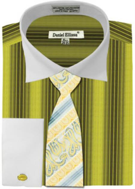 Daniel Ellissa Basic Two Tone French Cuff Set Sage White Collar Two Toned Contrast Men's Dress Shirt