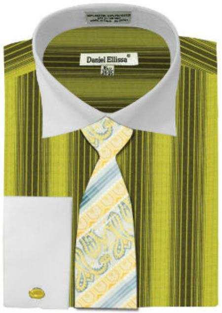 Buy MK784 Mens Daniel Ellissa Basic Two Tone French Cuff Dress Shirt Set Sage White Collar Two Toned Contrast