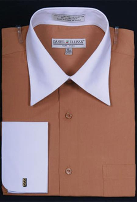 Mens Daniel Ellissa Bright Two Tone Solid French Cuff Tan Dress Shirt Big and Tall Sizes White Collar Two Toned Contrast