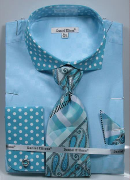 Men's Turquoise Daniel Ellissa Polka Dot French Cuff Dress Shirt