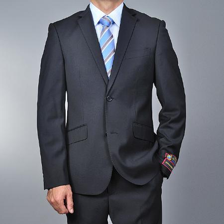 Mens European Skinny Notch Lapel No Pleated Pants Slim Fit Black 2-button Suit