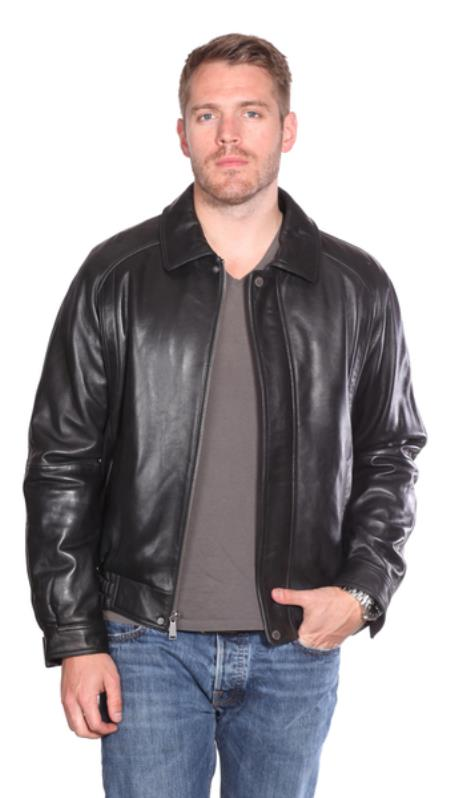 Easton Leather Big and Tall Bomber Jacket Black