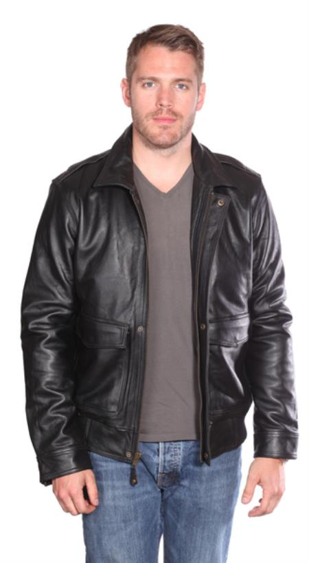 Leather Bomber Black