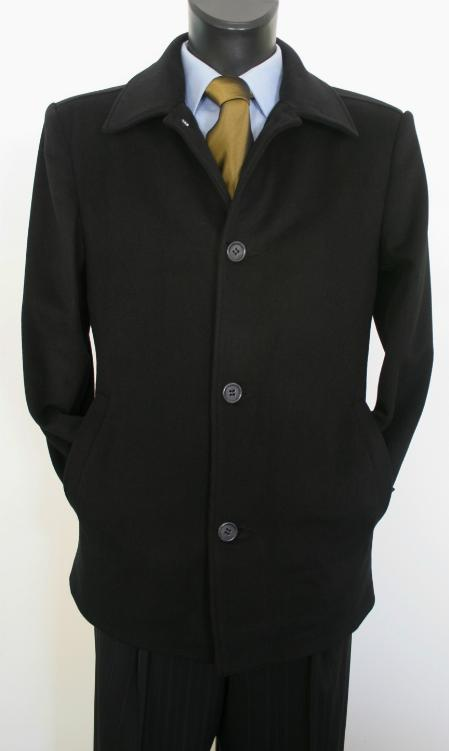 Mens Dress Coat Valenti Designer Wool & Cashmere Single breasted Mens Car Coat Style Black