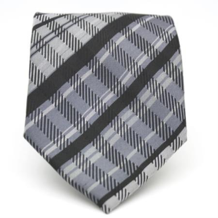 Slim Black Glen Classic Necktie with Matching Handkerchief - Tie Set