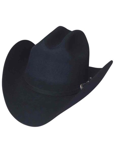 Mens Black Color Duranguense Style Los Altos Wool Cowboy Hat