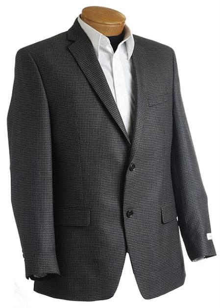 Mens Designer Gray/Black Tweed houndstooth Sports Jacket