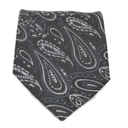 Black P A I S L E Y Print Neck Tie and Handkerchief Set