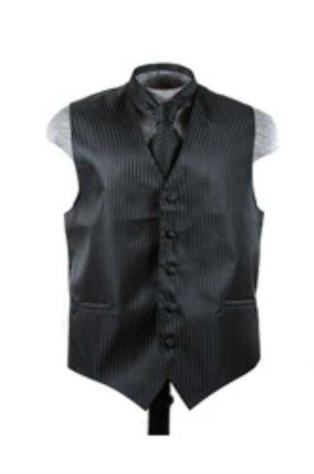 Dress Tuxedo Wedding Vest ~ Waistcoat ~ Waist coat Tie Set Black
