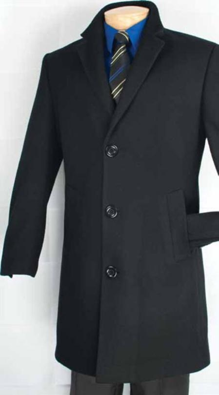 Three Quarters Length Mens Dress Coat Car Coat Collection in a Soft Cashmere Blend - Black