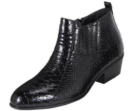 Buy KA3986 Mens Black Dress Boot Belly Snake Print