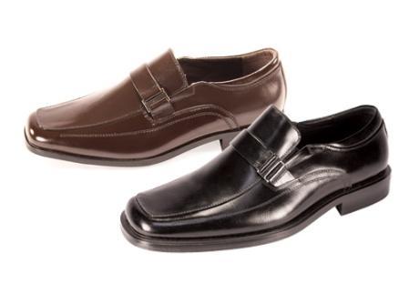 SKU#GN5278 Mens Black Slip On ~ Loafer Dress Shoes