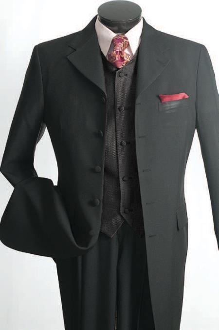 1940s Mens Suits | Gangster, Mobster, Zoot Suits Mens 3 Piece Fashion Suit - Reversible Vest Black $139.00 AT vintagedancer.com