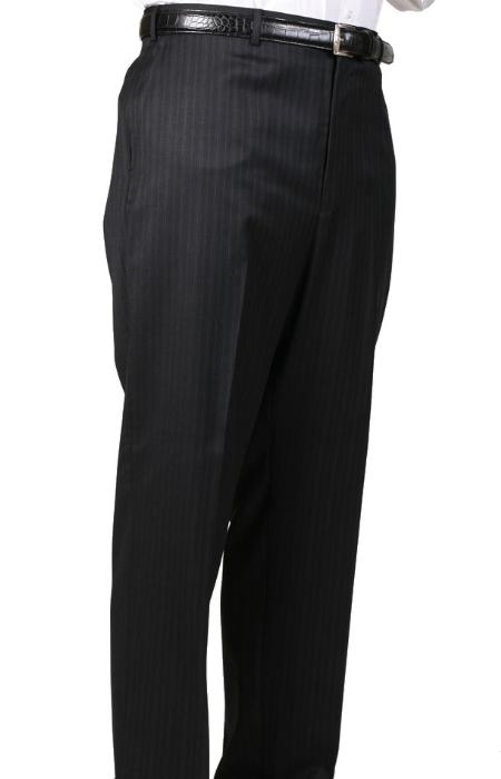 Black Stripe Bond Flat Front Trouser