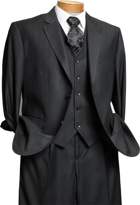 Signature Stays Cool Discounted Sale Mens 3 Piece Black On Black Tone on Tone Shadow Stripe Design three piece suit