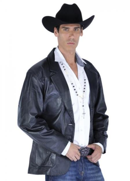 SKU#KA1365 larger image Los Altos Black Genuine Lamb skin Blazer Jacket