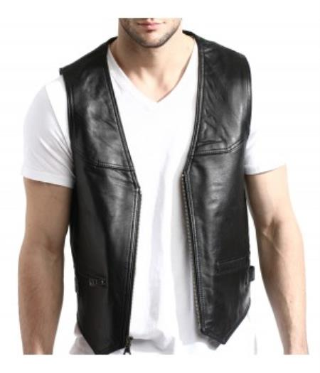 Men's Black Lambskin Leather Zip-Front Vest PNI67