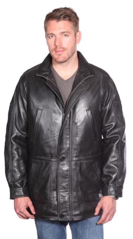 Garner Leather Parka Black
