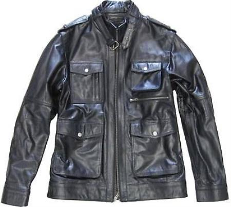 Mens Black Military Genuine Leather Jacket Slim Fit tanners avenue jacket