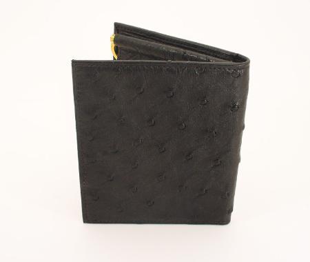 Men's Genuine Exotic Animal Skin Ferrini Brand Ostrich Wallet - Bifold w/ Money Clip Black, Cognac, Kango Tabac