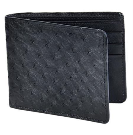 Mens Genuine Exotic Animal Skin Wallet ~ billetera ~ CARTERAS Black Genuine Ostrich Card Holder Wallet