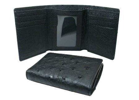 Mens Genuine Exotic Animal Skin Ostrich Wallet - Black Trifold
