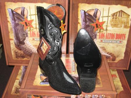 Classic cushioned Leather Pull Strap Black Los Altos mantarraya skin Single Stone Western Cowboy Boot