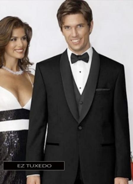 100%Poly Slim Fitted Traditional Fitc Cut 1 button Black Tuxedo