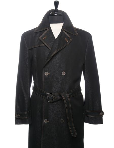 Mens Dress Coat Denim Trench Coat In Black