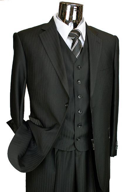 SKU# BER_TZ37 Mens Black Tone on Tone 3 Piece 2 Button Italian Designer Suit Flat Front No PleatedPants