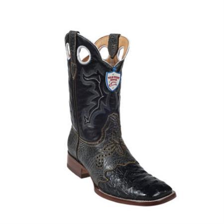 Wild West - Dress Cowboy Boot Cheap Priced For Sale Online Ostrich Leg Wild Ranch Toe - Black - Botas De Avestruz