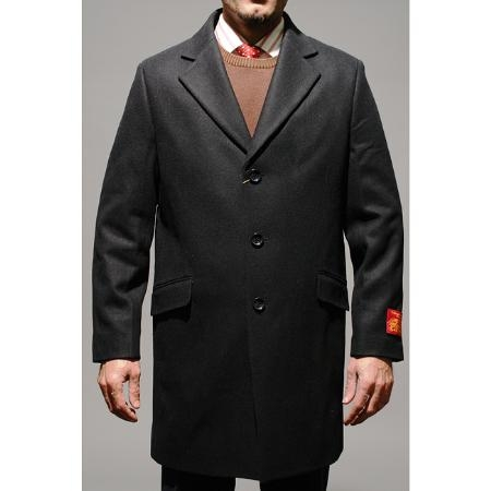 Three Quarters Length Mens Dress Coat Black Wool and Cashmere Carcoat ~ Peacoat