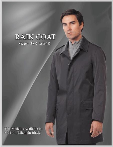 SKU#Style Mens Raincoat - Trench Coat Black
